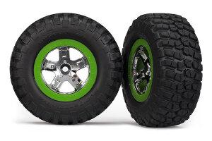 Traxxas Reifen+Felge montiert Slash vo chrome/grün...