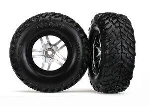 Traxxas Reifen auf Felge(S1) satin chrome 2,2/3,0 4WD v/h...