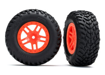 Traxxas TRX5892 Reifen auf Felge SCT Split-Spoke orange...