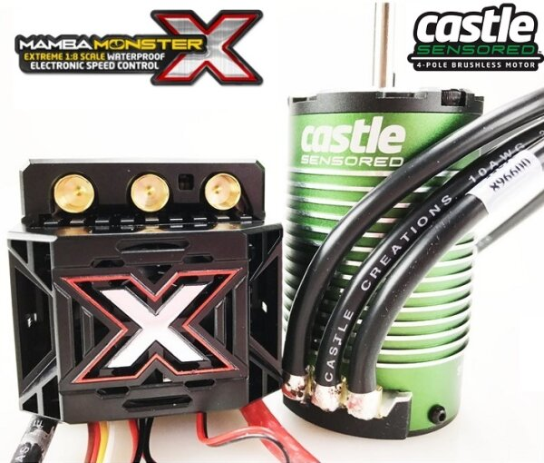 Castle Creations 010-0145-04 Mamba MonsterX 2650KV 1:8 Sensor-Motor Brushless Set wasserdicht