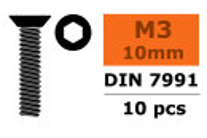 GForce GF-0101-003 Senkkopfschraube Innensechskant M3X10 Stahl 10 St