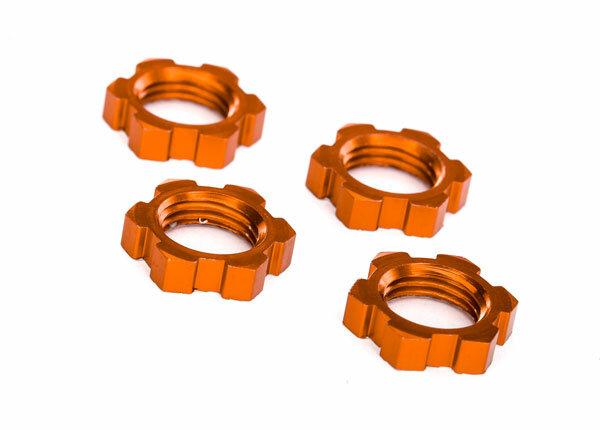 Traxxas TRX7758T Radmuttern, splined, 17mm, verzahnt (orange-eloxiert) (4)