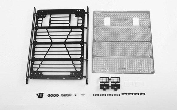 RC4WD VVV-C0999 Command Dachgepäckträger mit Diamantplatte und 2x quadratischen Leuchten