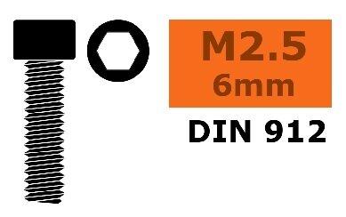 GForce GF-0100-008 RC Innensechskant M2,5X6 Stahl schwarz 10 Stück