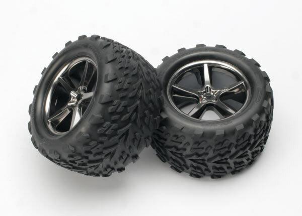 Traxxas TRX5374A TALON-Reifen auf GEMINI-Felgen, schwarz-Chrom 14mm Mitne (2 Stk.)